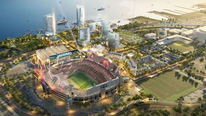 A rendering of the planned $2.5 billion mixed-use district around the Jacksonville Jaguars stadium that The Cordish Companies has been tapped to handle as a development partner.
