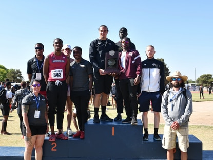 The Howard Community College men's track and field team poses for a photo after finishing second at the National Junior College Athletic Association Division III championships from May 11-13 in Levelland, Texas.