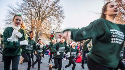 The Super Nova Dance Company entertains the crowd at Sunday's Bel Air Christmas Parade.