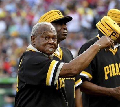 Former Pirates pitcher Grant Jackson acknowledges the crowd during the 40th anniversary celebration of the 1979 World Series team at PNC Park in Pittsburgh on July 20, 2019.