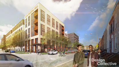 A rendering of the proposed apartment building at 1800 S Hanover St.