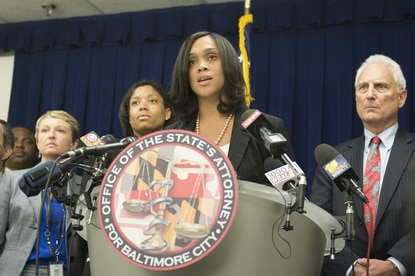 City State's Attorney Marilyn Mosby announces the indictments brought by the grand jury.