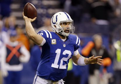 Colts' Andrew Luck throws during the second half of an NFL football game against the Denver Broncos, Sunday, Nov. 8, 2015, in Indianapolis.