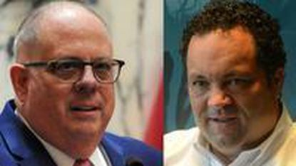 Gov. Larry Hogan, left, will try to siphon off Democrats and independents who might not be entirely comfortable with Ben Jealous' progressive message.