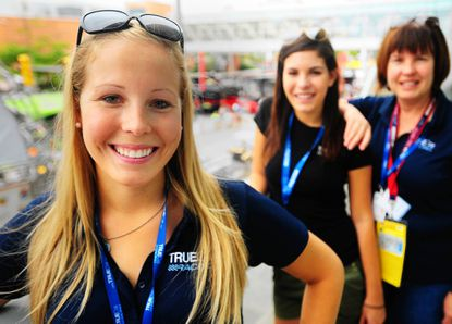Mazda MX-5 Cup SCCA Pro Driver Emilee Tominovich (left), sister Allie Tominovich (crew) and mom Fran Becker.