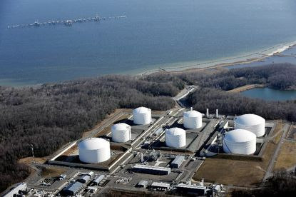 Lawsuit filed by three environmental groups challenges federal approval of a $3.8 billion project to begin exporting liquefied natural gas from Cove Point near Lusby in Calvert County.  Shown here is the little-used LNG import terminal owned by Dominion, an energy company based in Richmond, Va.