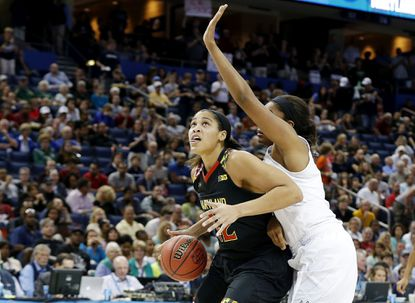 Maryland's Brionna Jones (42) goes up against Morgan Tuck of the Connecticut Huskies in the second half during the women's Final Four at Amalie Arena on April 5, 2015 in Tampa, Fla.