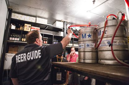 Craft-beer tourism company City Brew Tours will launch in Baltimore on Oct. 8. Here, a guide leads a tour in Boston.