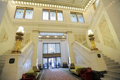 The foyer at Hotel Monaco on Charles Street. The hotel is one of several in Baltimore which are known to host visiting musicians, movie stars and other celebrities.
