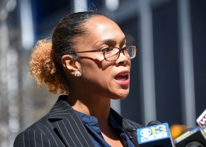 Baltimore City State's Attorney Marilyn Mosby spoke at a press conference outside the courthouse in downtown Baltimore in March.