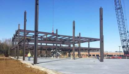 The steel begins rising for a five-story office building at 187 Harry S. Truman Pkwy. in Annapolis, a 130,000-square-foot building being developed by St. John Properties.