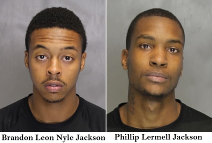 Brandon Leon Nyle Jackson and Phillip Lermell Jackson, who are cousins, were arrested and charged with robbery, assault and attempted murder after robbing a man in Owings Mills.
