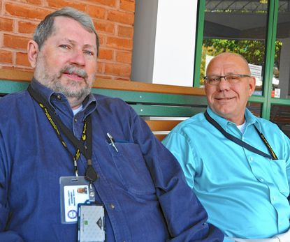 Jeff Collins, left, talks about his first year helping veterans in Carroll County in his role as veterans service program coordinator and the timely arrival of Jim Hillman, right, like Collins a veteran, who was hired to fill another part-time position with the service program.