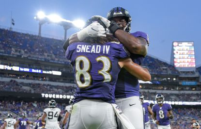 Ravens WR #83 Willie Snead IV celebrates with teammate #79 Ronnie Stanley. The Jacksonville Jaguars played against the Baltimore Ravens at M&T Bank Stadium on Thursday, August 8 in both team's first preseason game of 2019.