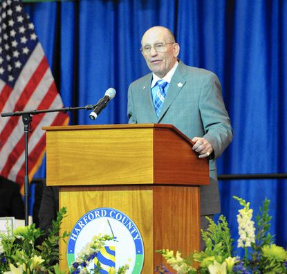Newly elected Harford County Council President Richard Slutzky delivers a few reamarks after he and fellow members of the Harford County Council were sworn in at the Inauguration event Dec. 1 at the APGFCU Arena at Harford Community College.