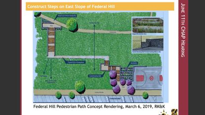 Rendering that shows the proposed steps on the east slope of Federal Hill.