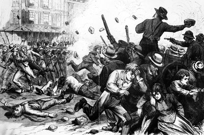 The 6th regiment fires upon the mob on the corner of Frederick and Baltimore Streets, July 20th, 1877 during the Baltimore & Ohio Railroad Strike. File photo