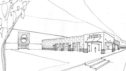 A sketch of the proposed Felipe's Mexican Taqueria Restaurant at the Shops at Kenilworth in Towson.