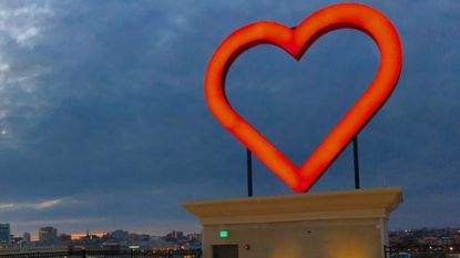 The 26-foot heart above the new Ronald McDonald House scheduled to open this spring was illuminated on Feb. 26, 2019. The new house will be located in the Jonestown neighborhood.