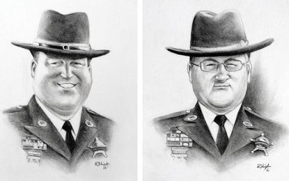 Sketches of Harford County Sheriff's Office Deputy First Class Mark Logsdon, left, and Senior Deputy Patrick Dailey were done by Bel Air artist Rick Wright of Caricatures by Rick Wright & Co. The two officers were shot to death in the line of duty on Feb. 10.