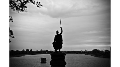Scottish rebel William Wallace looks out over Druid Hill Reservoir.