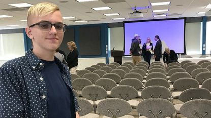 Connor Sheffield, 14, of Havre de Grace, poses following the State of Medical Cannabis Address at Harford Community College May 3. Sheffield uses medical cannabis oil to treat his gastrointestinal disease.