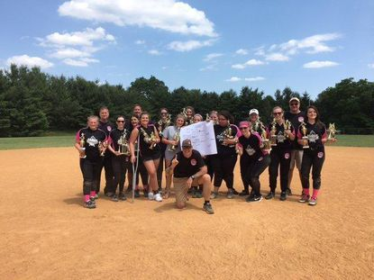 Westminster Jaycees softball team won the junior division title. Back row (L-R): Coach Mike, Coach Rob, Maddie Smith, Emma Lemmerman, Megan Beares, Coach John. Middle row Madison Hockenberry, Megan Scocco, Mary Zaepful, Julia Eyler, Kayla Snyder, Delaney Stevens, Kailah Lee, Taylor Wood, Morgan Click, Maddie Hott, Catherine Zaepful. Front: Coach Herb. Not pictured: Shyanne Gordon and Mark Click.