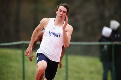 Former Mount St. Mary's track and field athlete Coby Rosemier-Gussio competes for the school in 2012.