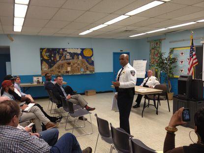 Baltimore Police Commissioner Anthony Batts speaks during an LGBT crime forum on April 14, 2014.