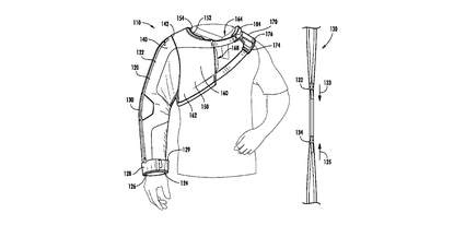 A patent image from Under Armour for a new design of a sleeve to keep a baseball pitcher's arm warm.