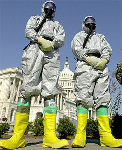 Anthrax search: Members of the Marine Corps' Chemical-Biological Incident Response Force have been checking buildings on Capitol Hill for anthrax. Several government buildings remain closed.