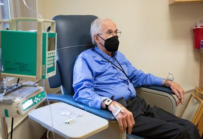 FILE -- Henry Magendantz, a patient in the aducanumab trial, after an infusion in Providence, R.I., May 28, 2021. He has been receiving infusions since 2014, and his wife believes it slowed his decline enough to allow him to help choose an assisted-living facility, where he lives now.