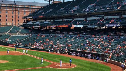 Attendance for the game at Oriole Park between the Orioles and Blue Jays on Sunday, Sept. 12 in Baltimore was reported as 8,474. The Orioles lost, 22-7.