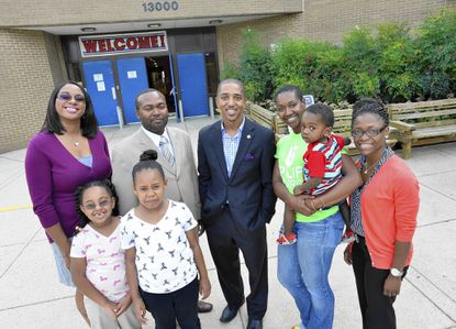 Uplift Church will begin meeting for worship on Sept. 14 at Deerfield Run Elementary. From left are church organizer Sharla Hudgens and her daughters Leigha and Faith Hudgens; Van Rawls, executive minister; church minister the Rev. Marquez Ball; Aja Jernigin and her son Daniel Perry; and Sabrena Heyward.