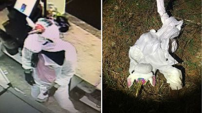 Baltimore County police say Jacob William Rogge wore a full-body pink and white unicorn costume while allegedly robbing a Baldwin convenience store. At right is the discarded costume where police say they collected it as evidence.
