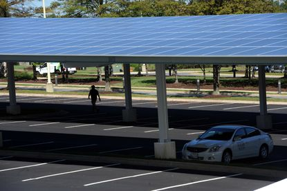 Community College of Baltimore County plans to have carports with solar panels similar to this one at Konterra headquarters.