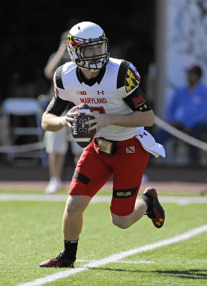 Maryland quarterback Caleb Rowe (7) throws during the second half of an NCAA college football game against Indiana Saturday, Sept. 27, 2014, in Bloomington, Ind. Maryland defeated Indiana 37-15. (AP Photo/Darron Cummings) __ ** Usable by LA, DC, CGT and CCT Only **