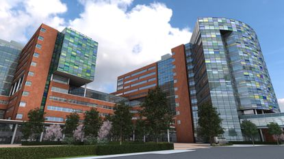 Johns Hopkins Hospital's new face. This is the view from Orleans Street. Photo courtesy of Johns Hopkins Medicine/handout (daily folder 01/25/12)