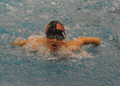 York Manor's Aden Mann finished second in boys 11-12 100-yard butterfly in the Freestate Trophy meet.