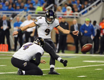 Ravens kicker Justin Tucker kicks one of six field goals he converted against the Detroit Lions on Monday.