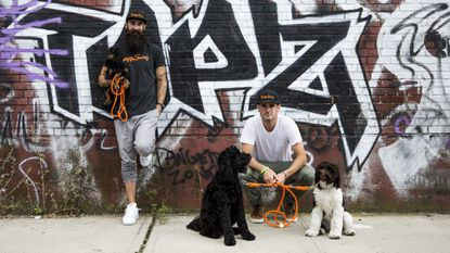 Howard County natives Matt Powers (left) and Chris Riley own ShaggySwag, an upscale subscription box for dogs.