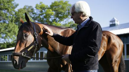 Trainer Bob Baffertstands next to Triple Crown winner American Pharoah at Belmont Park in Elmont, N.Y., on June 7, 2015, the day after the colt won the Belmont Stakes.