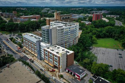 Aspen Heights, a 14-story mixed-use building to be used for student housing nears completion at 101 York Road.