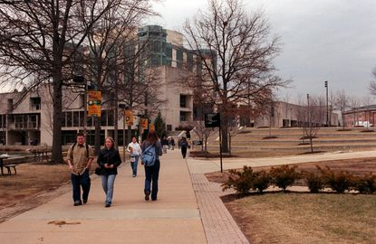 Students stroll on theUMBC campus.