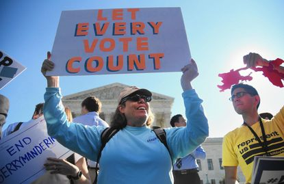 Demonstrators gather outside the U.S. Supreme Court in October 2017 when the justices heard a Wisconsin case about gerrymandering.