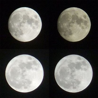 "The bottom row shows ""supermoons"" appearing 10 percent larger than normal moons."