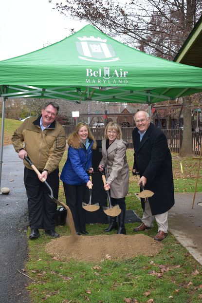 Helping break ground Nov. 12 for the Chesapeake Sensory Plaza at Rockfield Playground in Bel Air are, from left, Barry Suits, president, Maryland American Water; Carrie Williams, president, American Water Charitable Foundation; Susan Burdette, mayor, Town of Bel Air; Les Grimm, Greater Bel Air Community Foundation.
