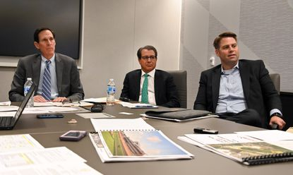 While Baltimore leaders celebrate a deal to keep the Preakness Stakes in the city, tough questions await the proposal in next year's General Assembly session. Shown in this photo Friday at The Baltimore Sun, from left to right, attorney Alan Rifkin, who represents The Stronach Group, attorney Alan Foreman, who represents horsemen, and attorney William Cole, who represents the city of Baltimore, talk about the future of the Preakness and plans for Pimlico Race Course and Laurel Park.