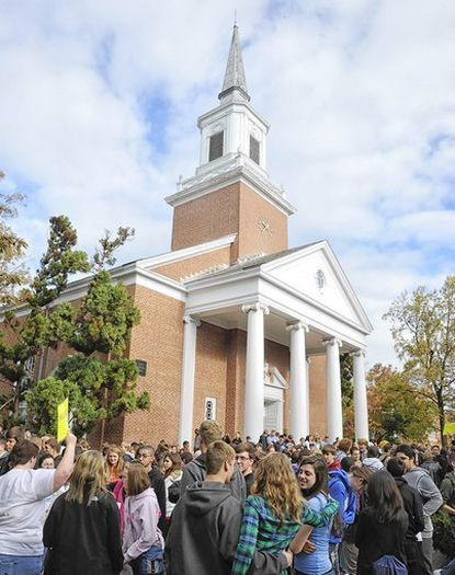 Hundreds of Maryland high school and middle school students gather in front of Big Baker Chapel at McDaniel College as the German-American Day opens at the Westminster campus on Oct. 16.