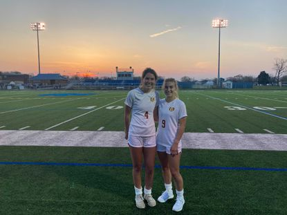 Sarah Klink (4) and Laura Schmidt (9) were integral in Hereford's 2-1 victory over Sparrows Point on Tuesday evening.